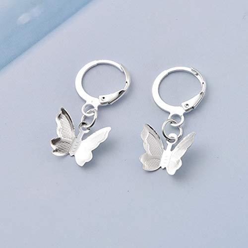 TseenYi Pendientes de gota de mariposa de moda para mujeres y niñas (plata)