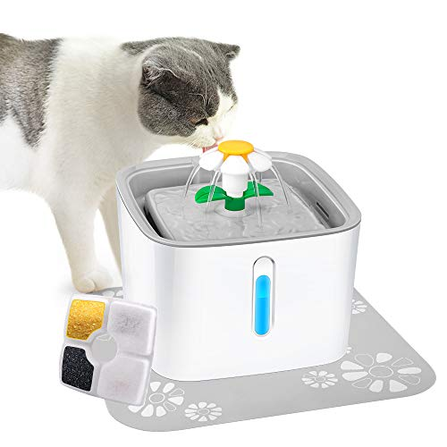Cat Water Fountain with LED Water Level Window, 84oz/2.5L Automatic Pet Fountain, Ultra Silent Healthy and Hygienic, 3 Modes Drinking Fountain, with 1 Carbon Filter and 1 Large Silicone Mat, Grey