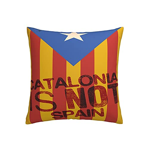Catalonia - Funda de cojín cuadrada decorativa para sofá, hogar, dormitorio, interior y exterior, funda de almohada de 45,7 x 45,7 cm