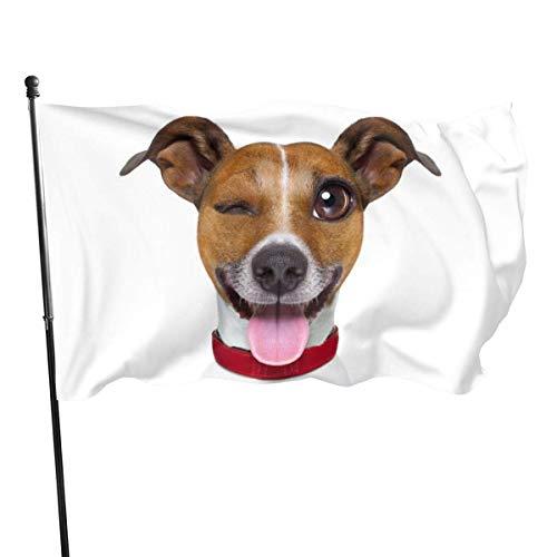 Bandera de jardín, divertido emoticono terrier que se pega hacia fuera la lengua, color vivo y resistente a la decoloración UV, doble costura para patio, banderas de pared, 3 x 5 pies