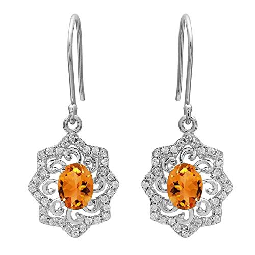 Shine Jewel Multi Choice 0.50 Ctw Pendiente de racimo de piedras preciosas de forma ovalada 925 (Citrino)