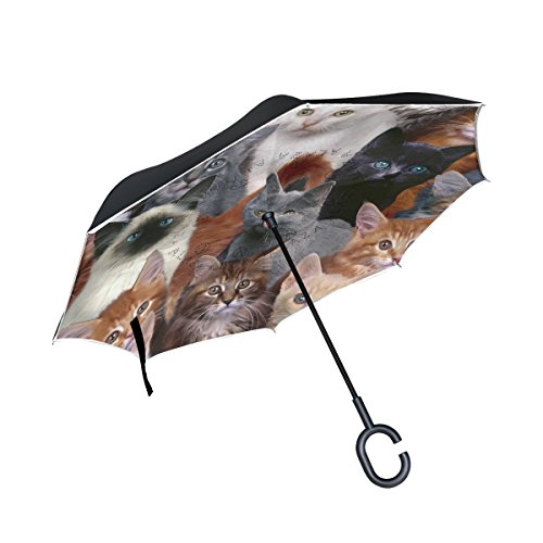 ALAZA Double Layer Inverted Cat Umbrella Cars Reverse Windproof Rain Umbrella for Car Outdoor with C Shaped Handle