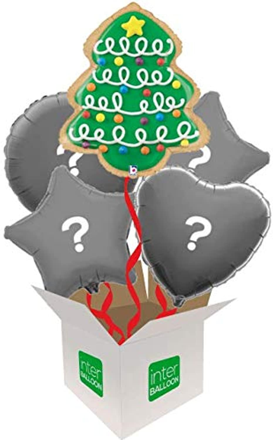 InterBalloon Helium Inflated 25  Christmas Tree Cookie Balloon Delivered in a Box with 4 Extra Balloons of your choice