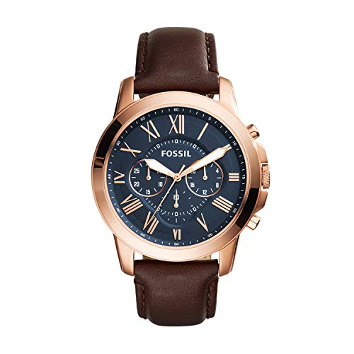 Fossil Men's Grant Quartz Stainless Steel and Leather Chronograph Watch Color: Rose Gold-Tone Brown (Model: FS5068)