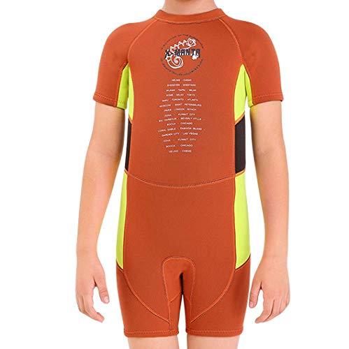 HOUWENJ Snorkeling Protezione Solare Costume da Bagno per Bambini 2.5MM Tuta da Sub in Un Pezzo Maschile A Maniche Corte Surf A Prova di Freddo Abbigliamento da Medusa Arancione,Orange-XL