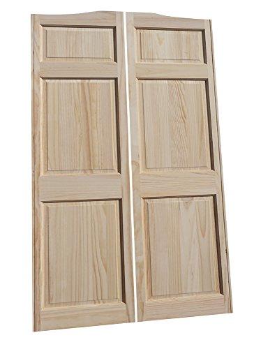 Cafe Doors by Cafe Doors Emporium | Full Height Pine Raised 6 Panel Cafe Door | Parlor Butler Door | Premade for 30