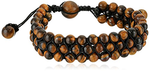 Price comparison product image Crucible Jewelry Mens Tiger's Eye Stone Beaded Triple Row Adjustable Bracelet (18mm Wide),  Brown,  One Size