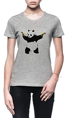 Schlecht Panda Schablone Damen T-Shirt Grau Größe M - Women's T-Shirt Grey