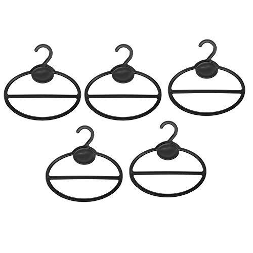 SODIAL 5X éCharpe Chale Porte-Cravate Organisateur Cintres en Plastique Ovales Cintres Rangement Noir Taille: 13,5Cm(Longueur) X12,5Cm(DiamèTre) X 13,5Cm(Hauteur) X1,9Cm(Bouche à Crochet)