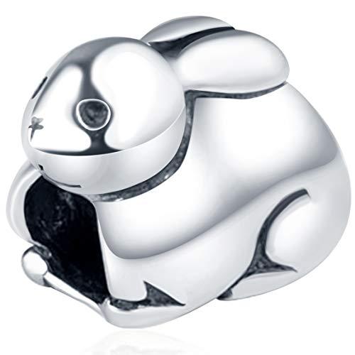 Choruslove Rabbit Charm Bunny Charm 925 Sterling Silver Lovely Animal Bead for Snake Chain Bracelet Charms Easter Present