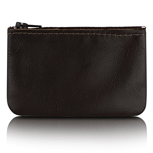 Zippered Coin Pouch, Change holder For Men/Woman made with Genuine Leather, Coin Purse, Pouch Size 4x2.5 inches, Made IN USA (Brown)