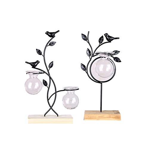 NHLBD Home decoratie/Feng Shui tafel Decoratieve Ornamenten, Creatieve Smeedijzer Bloem, Test Tube, Glas Vaas, Huis Water Cultuur, Groen, Groen, Plant, Binnen C