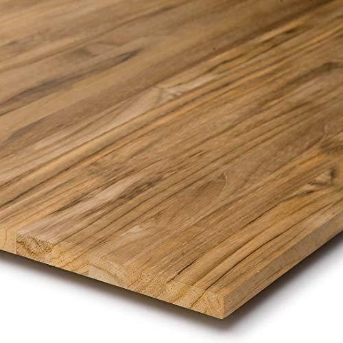 Estante de madera maciza de teca, tablero de mesa, superficie de trabajo, tablero de muebles, FSC® 100% (110, 30)