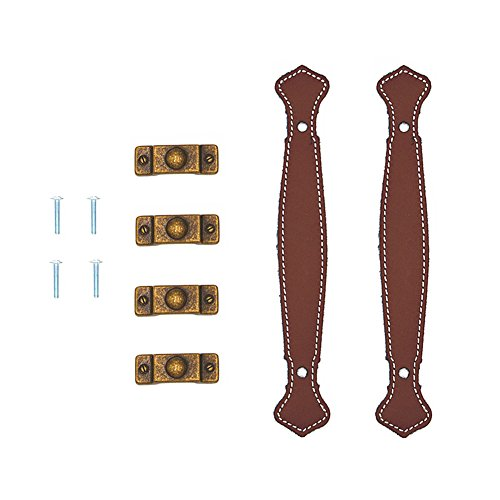 Surface Leather Furniture Handle Modern Style Leather Handle Door Pull Handle (Brown Hole to Hole 128mm) Pack of 2