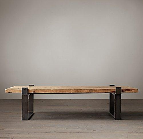 Lzz Table Basse Moderne en Bois Massif Simple Table à Manger Vintage en Fer rétro Table à café américaine de Style Industriel (Taille : 45 * 45 * 50cm)