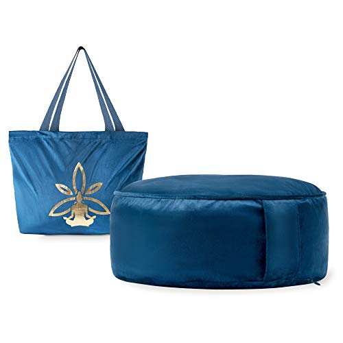 Nolavea - Coussin Méditation Zafu Yoga - 2 Housses : Velour et 100% Coton - Poignée et Sac de Transport - Odeur Lavande et Remplissage Sarrasin - Bleu Foncé
