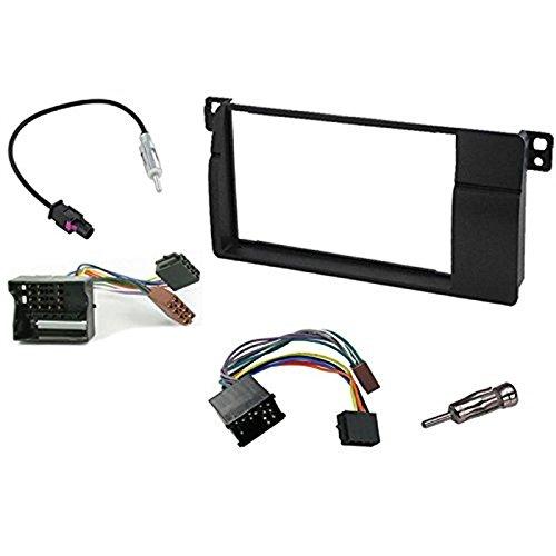 sound-way Adaptateur Facade AUTORADIO 2 DIN Compatible avec BMW Serie 3 E46 + Cable ISO + Adaptateur FM