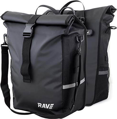 Rave Gepäckträgertasche Voyage - (Paar) Hinterradtasche Fahrradtasche + GRATIS Flaschenhalter Alu/schwarz