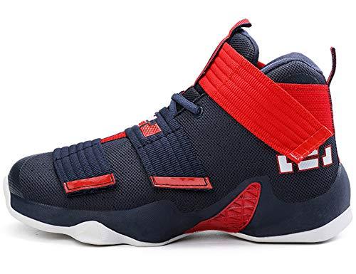 GNEDIAE Herren GNE911 High-Top Basketball Schuhe Outdoor Anti-Rutsch Sneaker Atmungsaktiv Ausbildung Turnschuhe Sportschuhe Laufeschuhe Verschleißfeste Dämpfung Basketballstiefel Blau 45 EU