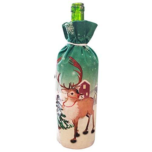Phrat Kerstmis wijnfles afdekking zak kerstman sneeuwpoppen eland voor kerstsessen uitgangspartij tafelavondeten decoratie