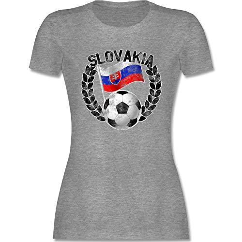 Fußball - Slovakia Flagge & Fußball Vintage - M - Grau meliert - t-Shirt Damen Slovakia - L191 - Tailliertes Tshirt für Damen und Frauen T-Shirt