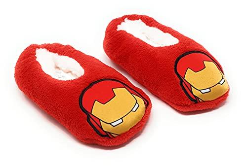 Chaussons d'intérieur polaires souples enfant garçon Avengers Marvel Iron Man Rouge du 25 au 32 (EU, numeric_25)
