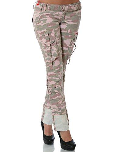 Damen Jeans Camouflage Hose Straight Leg (Gerades Bein) No 13975 Mehrfarbig XXS / 32