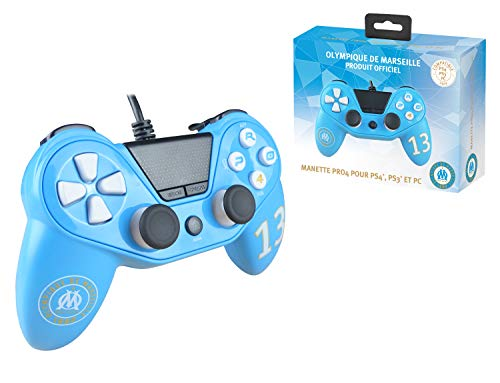 Subsonic Manette pour Playstation 4 - Playstation 3 - PC Pro4 wired controller OM Olympique de Marseille compatible PS4 - PS4 Slim - PS4 Pro - PC