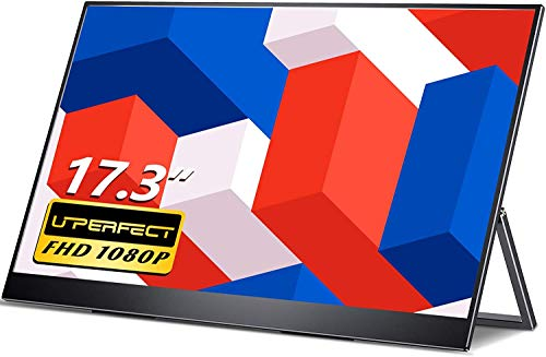 17.3 Inch Portable Monitor, UPERFECT Upgraded Portable Screen USB C Gaming Monitor, 1920×1080 FHD IPS HDR 100% sRGB Mobile Display with Type C, Mini HDMI, OTG, Kickstand and VESA Hole