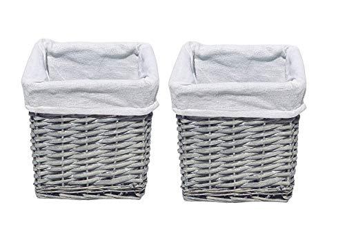 topfurnishing Set of 2 Multi Purpose Grey Small Willow Wicker Storage Hamper Basket Baby Nursery Organizer 20x20x20cm