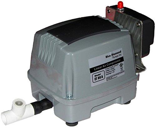 Blue Diamond ETA 80 Septic Air Pump w/Lo Pressure Alarm & Back Pressure Safety Valve (Maximizes Aerator Service Life)