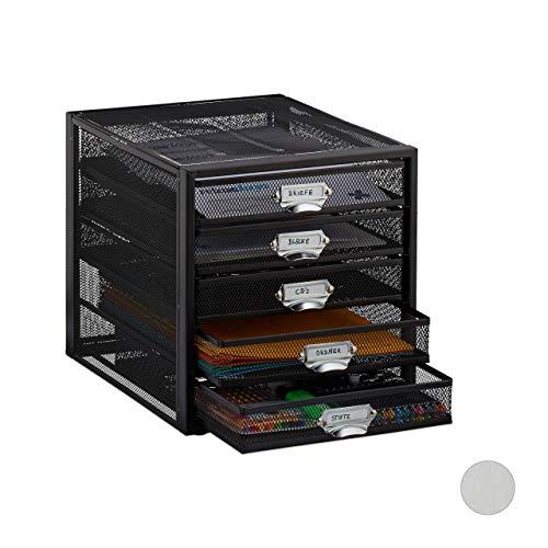 Relaxdays Cassettiera da Scrivania, 5 Cassetti, Formato DIN A4, Porta-Documenti, Box per Lettere e Corrispondenza, Nero, HxLxP: 29 x 27,5 x 35,5 cm
