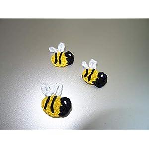 3 gehäkelte Applikationen Biene, Bienchen, handgemacht, Geschenkanhänger