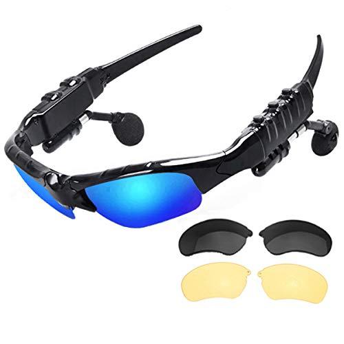 NewZexi Bluetooth Kopfhörer Sonnenbrille Stereo Musik Sportbrillen Drahtloses Bluetooth Händefrei Fahrbrille Draussen Radfahren Sonnenbrillen mit Austauschbarem Polarisierte Linsen Nachtsichtgläser
