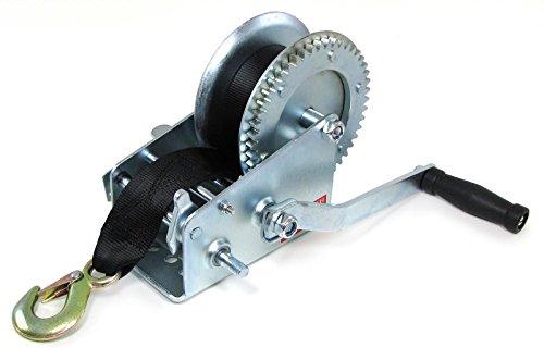 Tenzo-R 34125 Profi Seilwinde Handwinde silber mit Gurtband 1360 kg 8 Meter