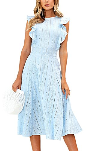 Minetom Spitzenkleid Damen Rundhals Ärmellos Sommerkleider Strandkleider A-Linien Kleid Abendkleid Cocktailkleider Knielang Blau DE 36