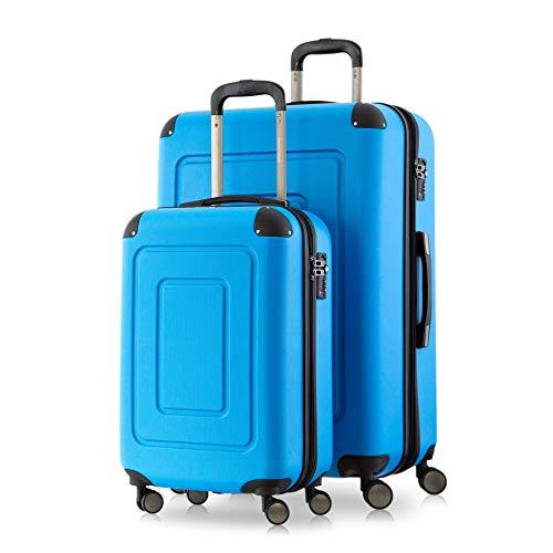 Happy Trolley - 2er Koffer-Set Trolley-Set Rollkoffer Hartschalen-Koffer Reisekoffer Lugano sehr leicht, TSA, (S+XL), Cyan Blau