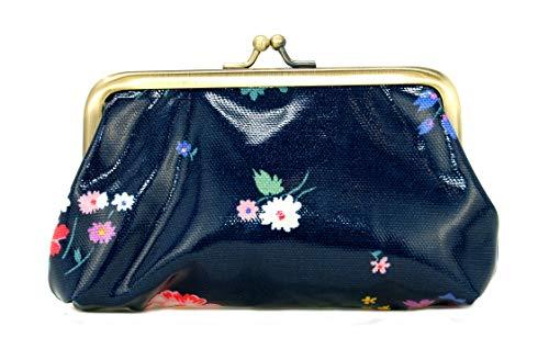 Cath Kidston Geldbörse Busby Bunch, leicht zu reinigen, Wachstuch, Retro-Stil, Marineblau
