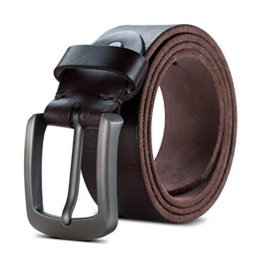 Lychee Herren Ledergürtel/Anti-Scratch Schnalle 100% italienischen Ledergürtel Gürtel Belt /38mm breit, kürzbar/Braun, Khaki (Braun, 102 cm Bundweite=122 cm(48