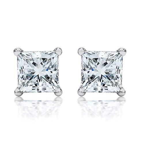IGI Certified (1/2 Carat -1.00 cttw, E-F Color, VS1-VS2 Clarity, Screw Back) 14K White Gold or Yellow Lab Grown Princess Cut Diamond Stud Earrings for Women by Stefano Navi (white-gold, 0.50)