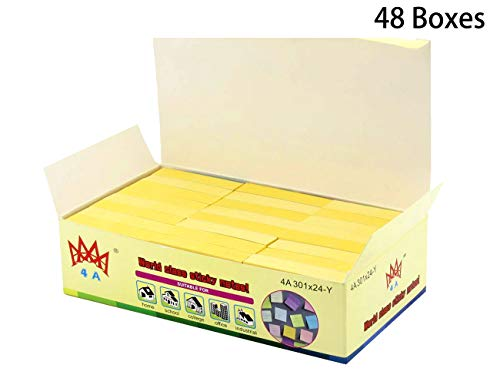 4A Sticky Notes,1 1/2 x 2 Inches,Small Size,The Adhesive On Shorter Side,Canary Yellow,Self-Stick Notes,100 Sheets/Pad,24 Pads/Box,48 Boxes,4A 301x24-Y
