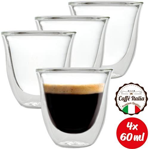 Caffé Italia Napoli 4 x Tasse Verre Double Paroi 60 ML - Tasse Expresso 8 cl - Espresso en Verre - Coffret de 4 Tasses à Café Double Paroi - Cadeau Parfait pour Toute Occasion