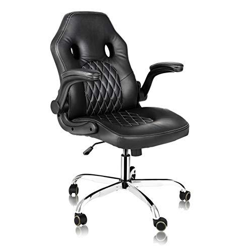 Office Chair, PU Leather Computer Chair Ergonomic Chair with Padded Armrests, Home Office Desk Chairs Swivel Office Chair High Back Executive Office Chairs(Black)