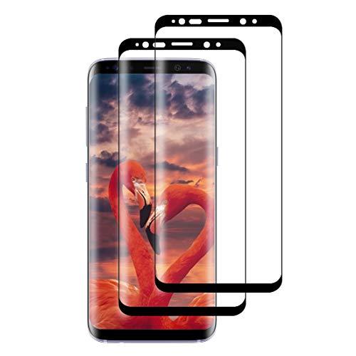 XSWO Cristal Templado Samsung S8 [2 Unidades], Protector Pantalla Samsung Galaxy S8, [3D Cobertura Completa] [Alta-Sensibilidad] [Anti Arañazos] [Sin Burbujas] [Fácil Instalar] Vidrio Templado