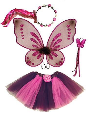 Enchantly Fairy Costume - Fairy Wings for Girls - Butterfly Costume for Girls - Brown and Pink Pixie Wings, Tutu, Wand and Rosebud Halo