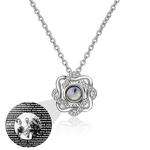 100 Sprachen ICH LIEBE DICH Halskette Benutzerdefinierte Foto-Halskette Personalisierte Halskette Projektions-Halskette(Silber Schwarz und Weiß 20)