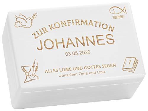 LAUBLUST Holzkiste mit Gravur - Personalisiert mit ✪ Datum | Name | WIDMUNG ✪ - Weiß Größe M - Kirchen Symbole - Geschenkkiste zur Konfirmation
