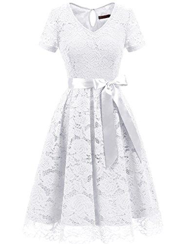 DRESSTELLS Eleganckie damskie suknie wieczorowe na wesele Koronkowa sukienka w kształcie serca Koktajlowa sukienka w kwiaty White XL