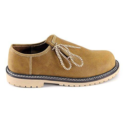 Almbock Trachtenschuhe braun Camel - Größe 40 41 42 43 44 45 46, für Oktoberfest zur Lederhose, echt-Leder, leichte ausgefallene Haferl-Schuhe