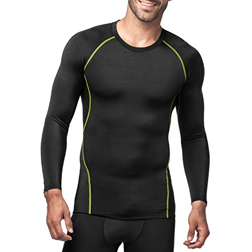 LAPASA Uomo Base Layers T-Shirt Sportiva a Compressione Seconda Pelle –Compressione GRADUALE- Maniche Lunghe Running Palestra Fitness M17 (M(Torace 96-102 cm/Manica 64 cm), Nero+Rosso)